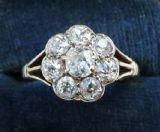 Gorgeous edwardian 0.95ct diamonds 18ct and white gold daisy vintage antique ring